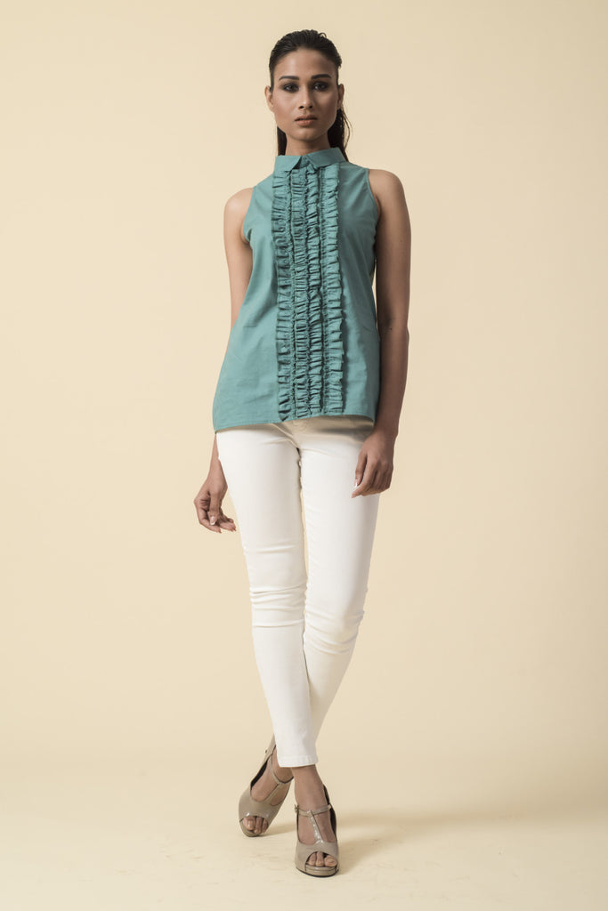 Green Front Ruffle Sleeveless Victorian Top