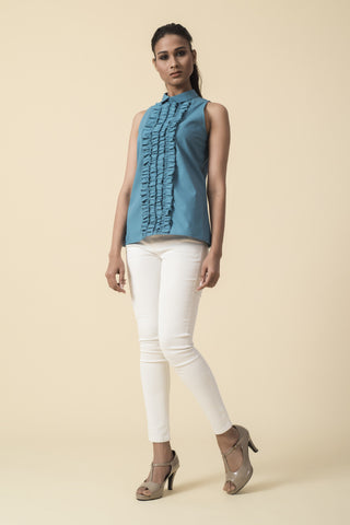 Teal Front Ruffle Sleeveless Victorian Top