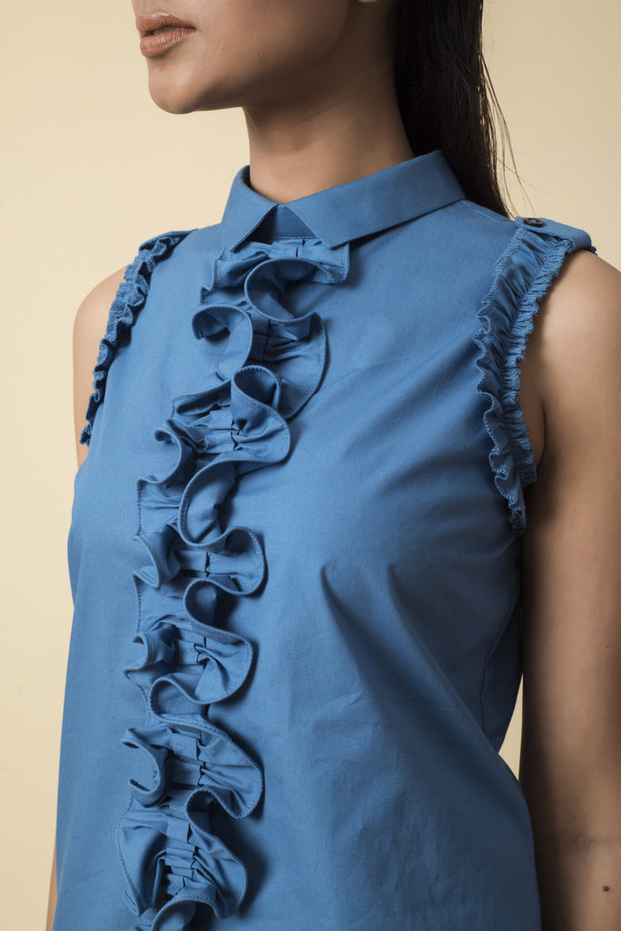Blue Front Ruffle Sleeveless Top