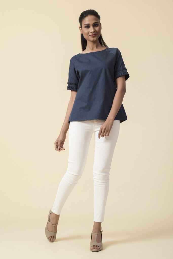 Frilled Raglan Sleeve Denim Top
