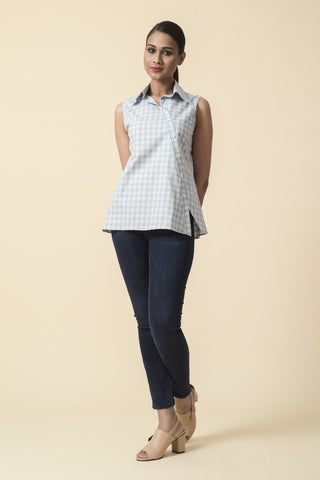 Bias Placket Checkered Sleeveless Top