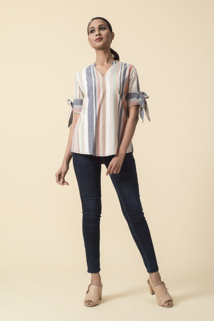 Multicolor Stripe Bow Sleeve Top