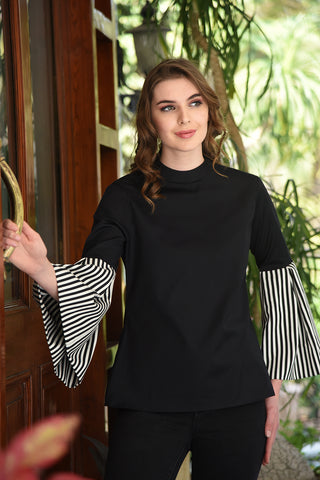 Double Collar Flared Sleeve Olive Off Shoulder Top