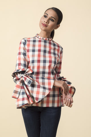 Red Checkered Bow Sleeves Victorian Top