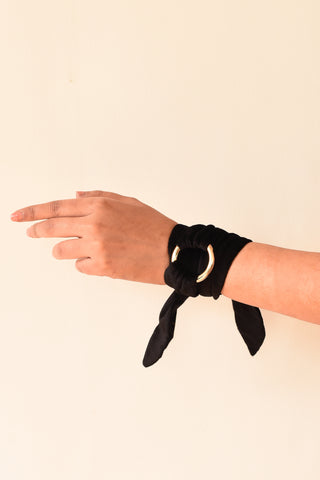 Black Velvet Gold Ring Wrist Accessory
