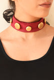 Wine & Gold Neck Choker
