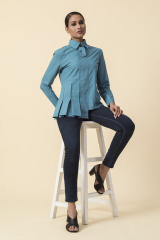 Asymmetrical Teal Front Box Pleat Shirt