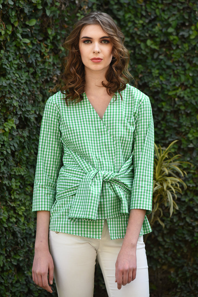 Smitten Front Knot Top - Green Checks