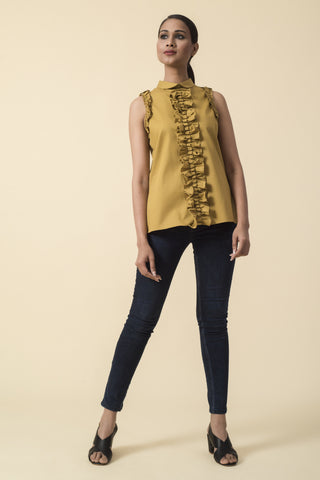 Mustard Front Ruffle Sleeveless Top