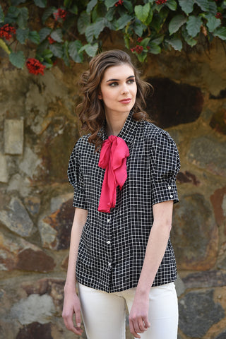 Wanderlust One Sleeved Ruffled Black Gingham Top