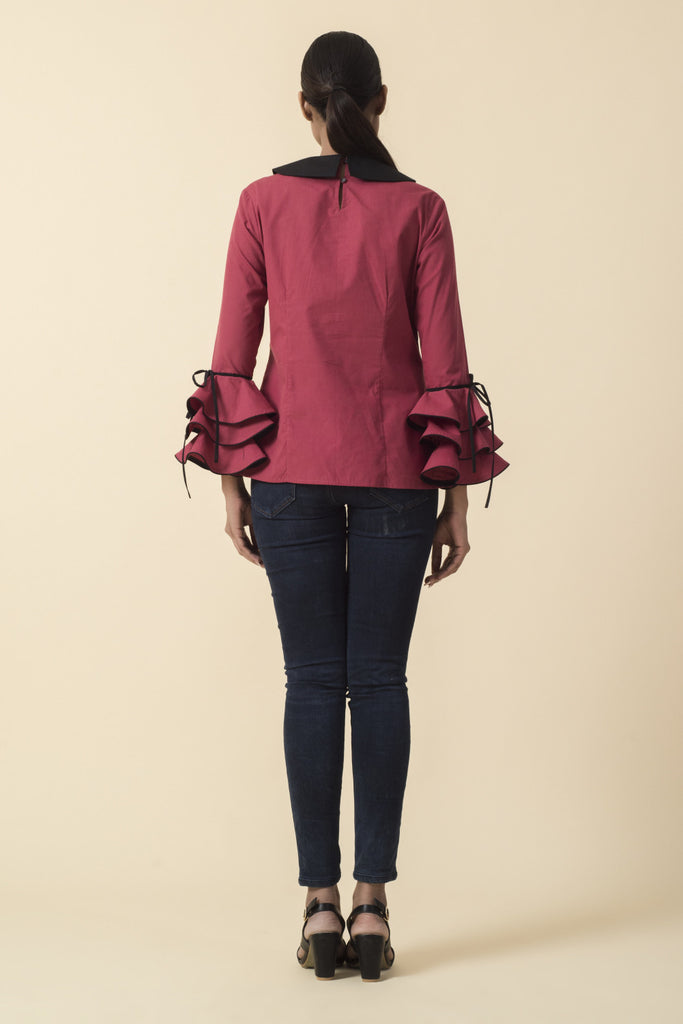 Brick Red Bib Collar Ruffle Sleeve Top