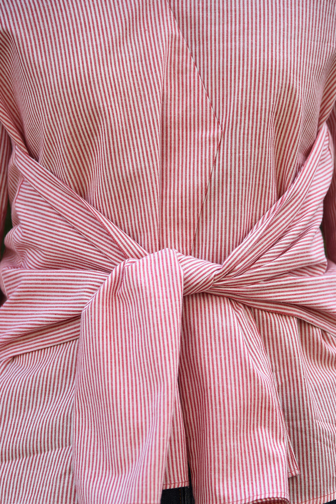 Smitten Front Knot Top - Red Stripes