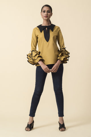 Mustard Bib Collar Ruffle Sleeve Top