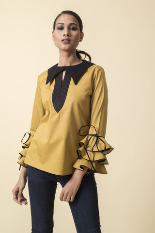 Asymmetrical White Front Box Pleat Shirt