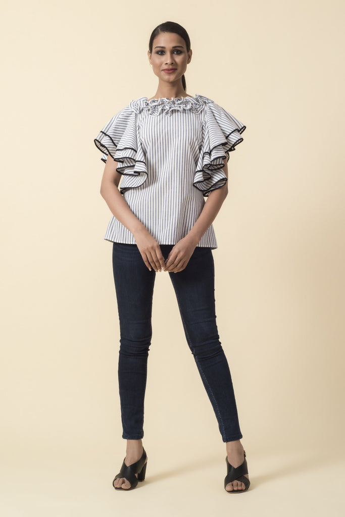 Striped Ruffle Neck Double Frill Sleeve Top