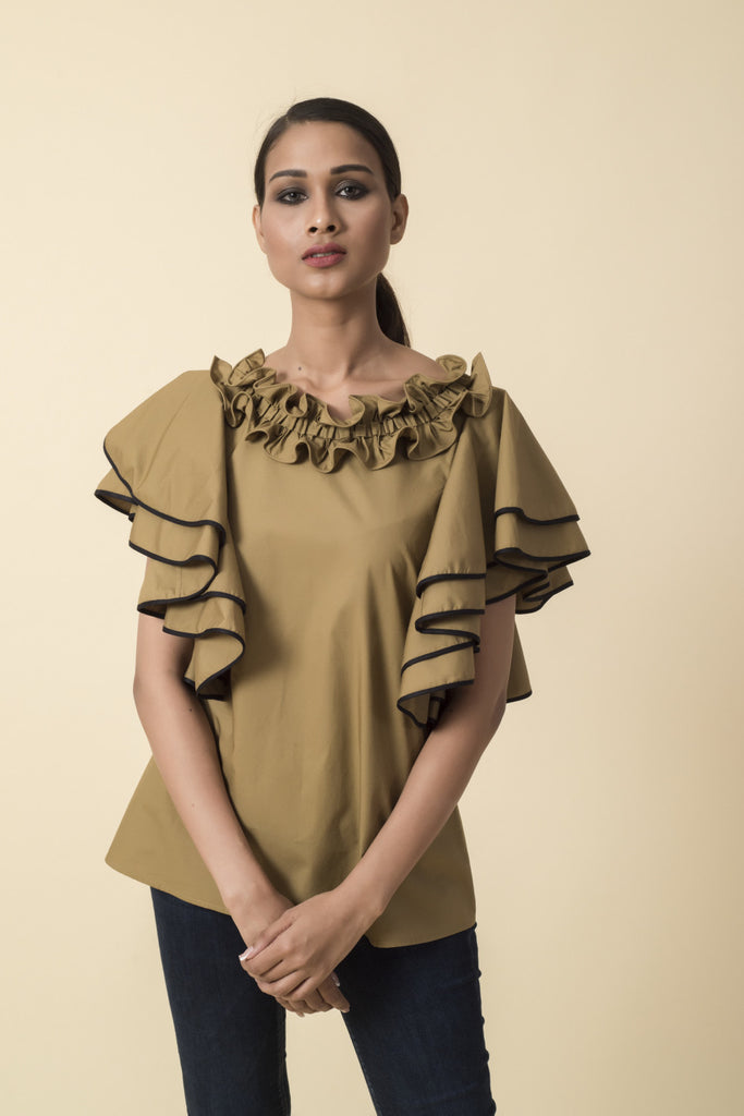 Mustard Ruffle Neck Double Frill Sleeve Top