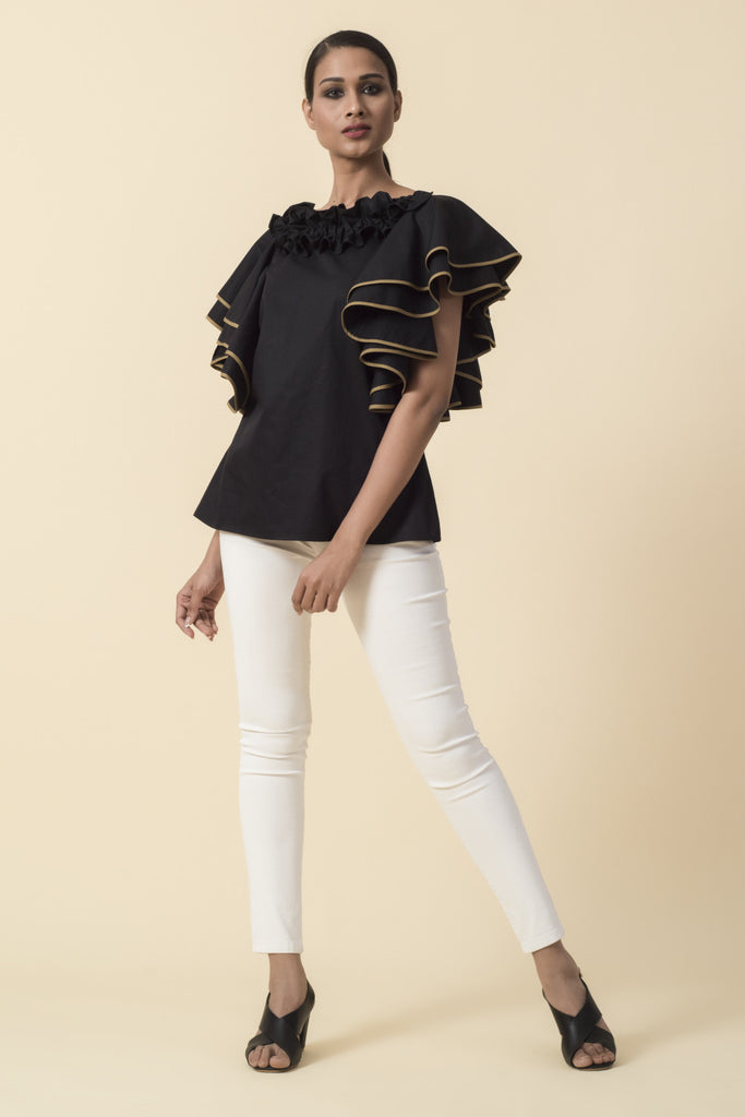Black Ruffle Neck Double Frill Sleeve Top