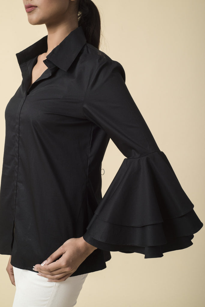 Black Layered Frill Sleeve Collared Shirt
