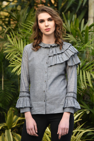 Grey Stripe Gathered Sleeve Top