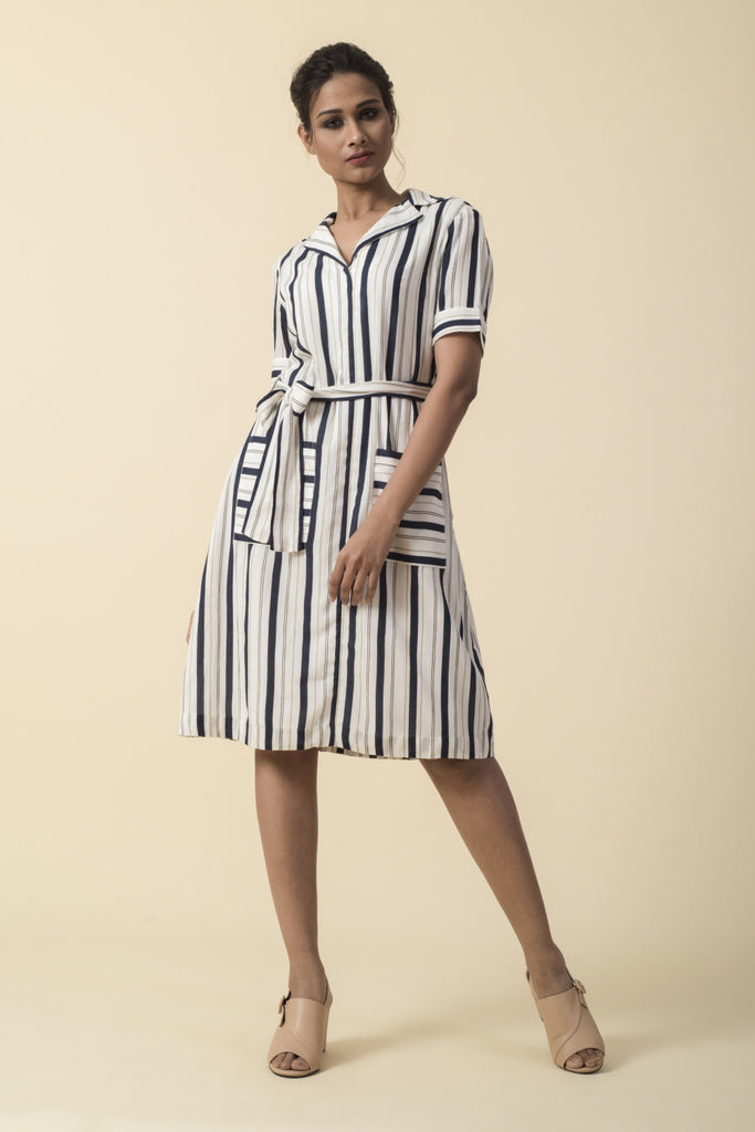 Printed Striped Shirt Dress
