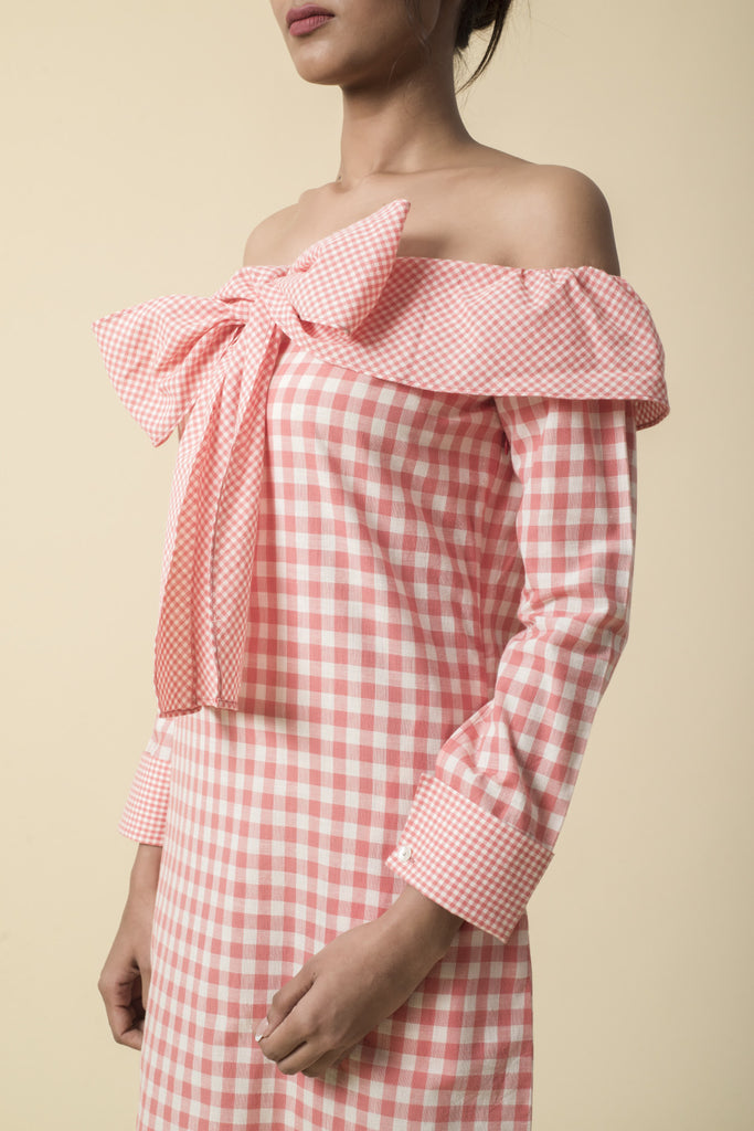 Coral Bow Tie Gingham Off Shoulder Dress