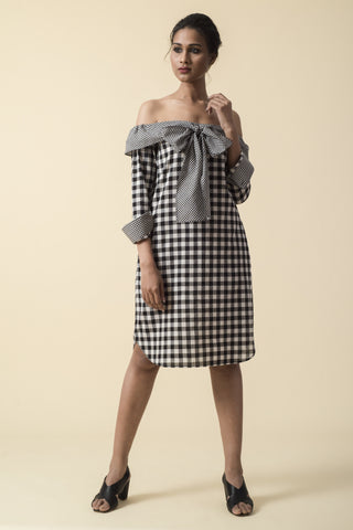 Black Bow Tie Gingham Off Shoulder Dress