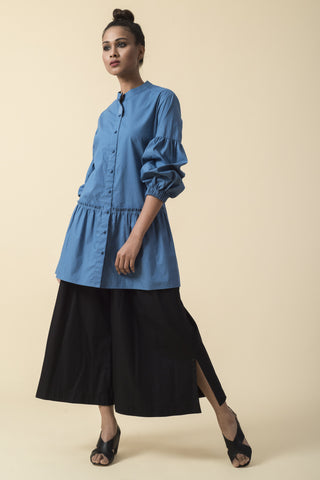 Teal Dip-Dyed Ruffle Shirt
