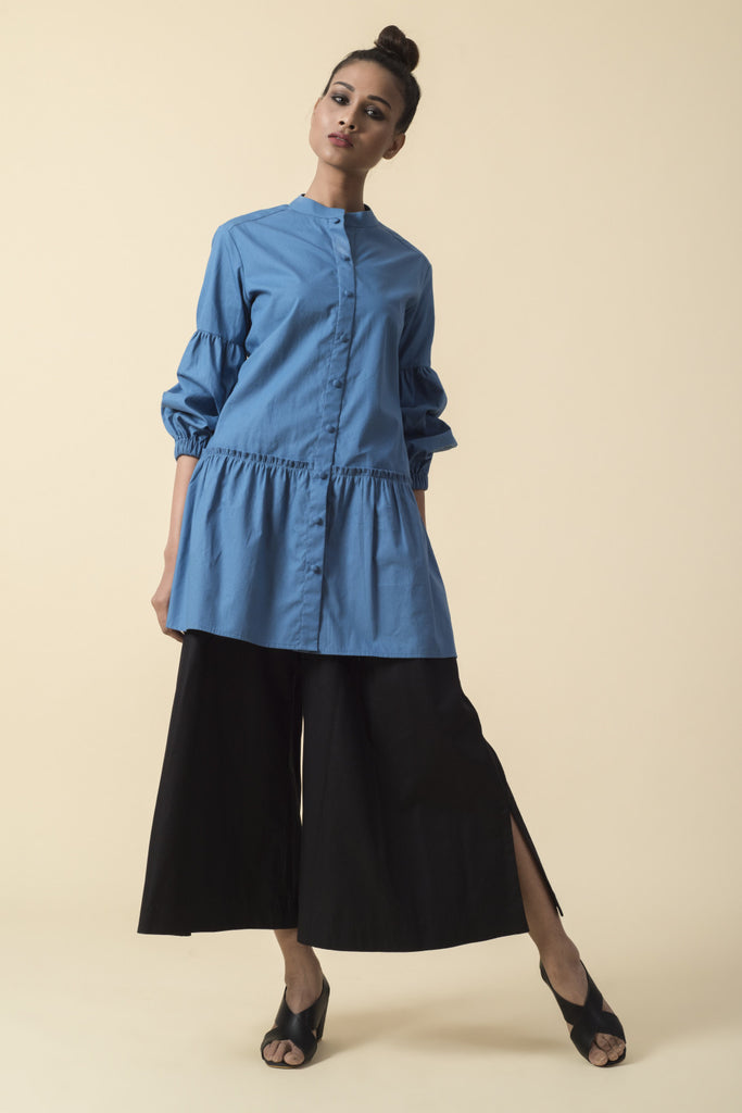 Blue Ruched Sleeve Shirt with Black Culottes