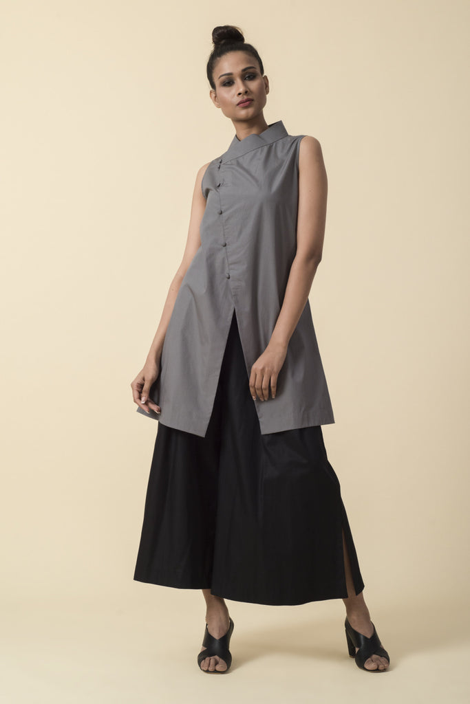 Grey Band Collar Top with Black Culottes