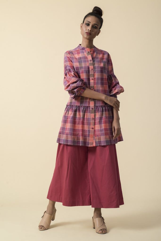 Multicolor Checkered Shirt with Red Culottes