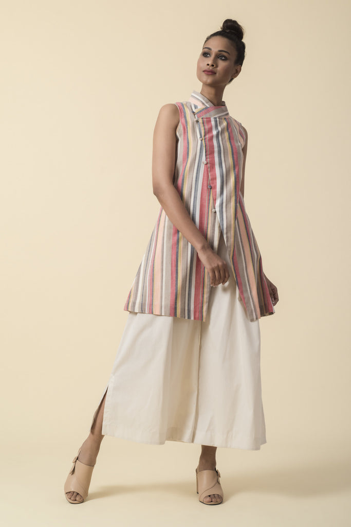 Striped Band Collar Top with White Culottes
