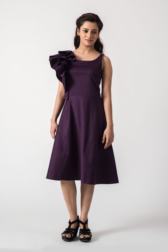 Purple Shoulder Ruffle Dress