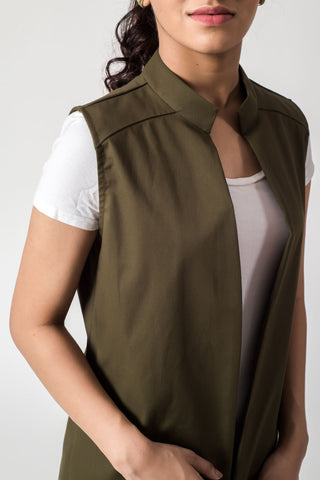 Olive Green Band Neck Cape