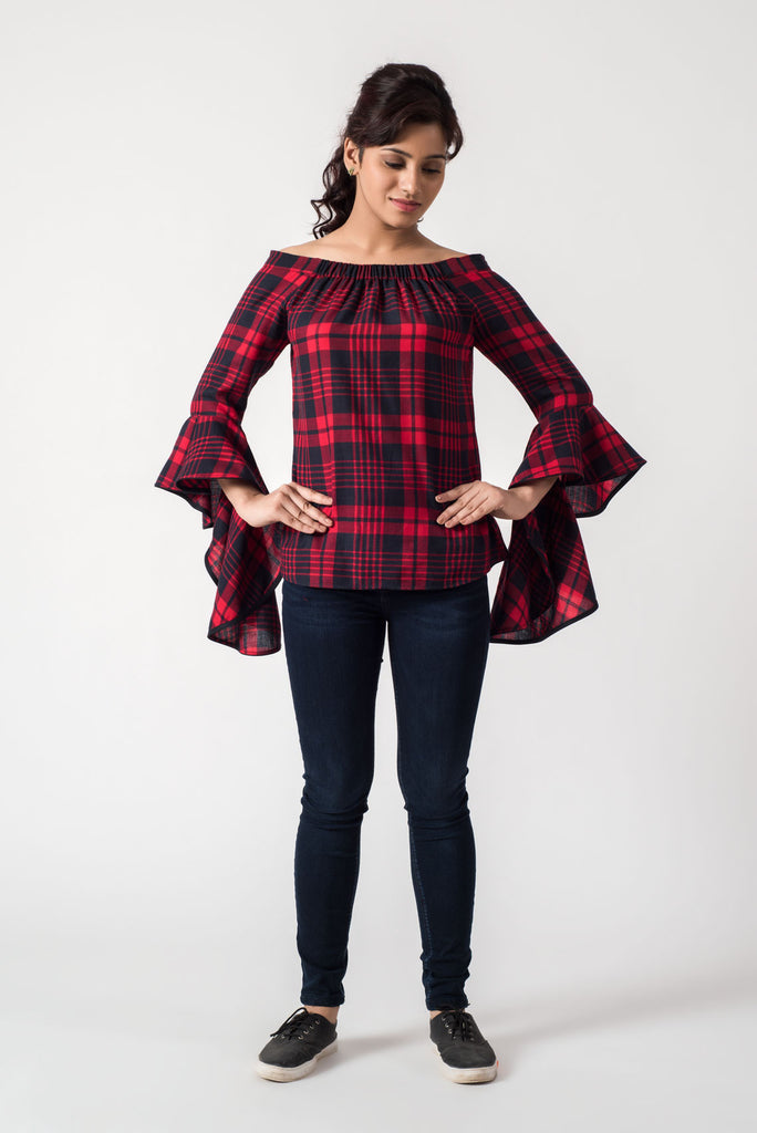 14d169c975cb1f Checkered Red Black Off Shoulder Top ...