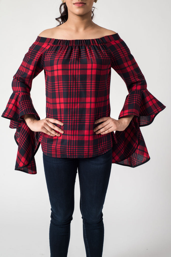 Checkered Red Black Off Shoulder Top