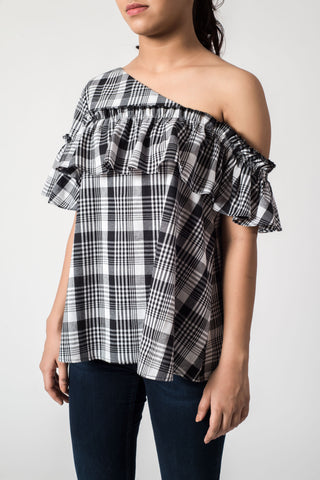 Black Stripe Ruffle One Shoulder Top
