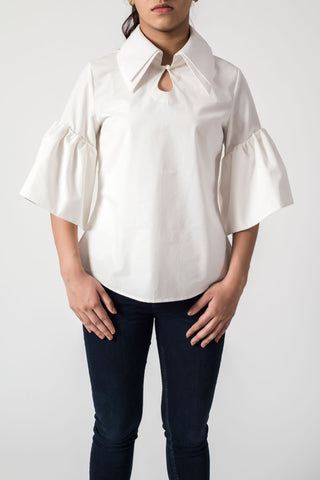White Broad Sleeves Collar Top