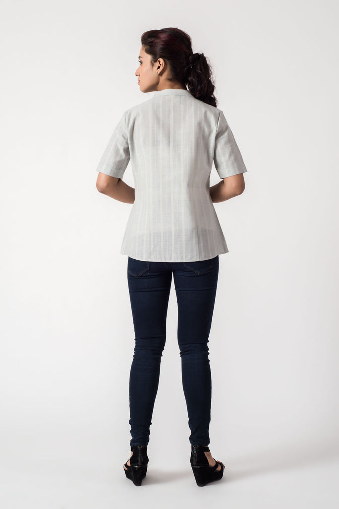 Self Stripe Front Button Top