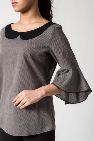 Charcoal Stripe Peter Pan Collar Top