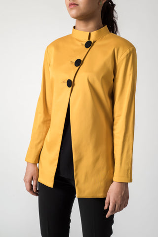 Classic Band Collar Mustard Jacket