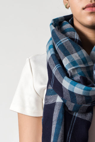 Checkered Navy Blue Scarf