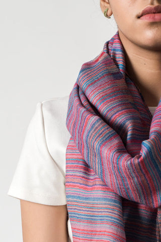 Multicolored Striped Pink Scarf