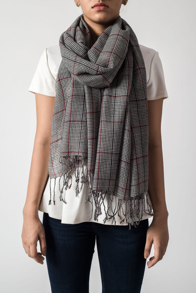 Checkered Grey & Red Stripe Scarf