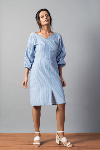 Blue Cotton Silk Shirt Dress