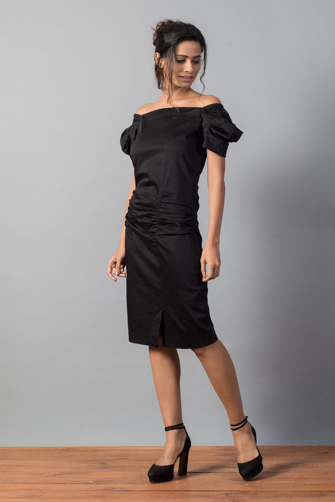 Ruched Bodycon Off Shoulder Dress