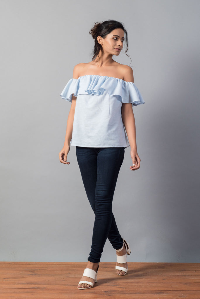 Pinstripe Ruffle Off Shoulder Top