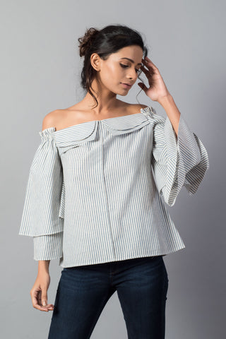 Double Collar Flared Sleeve Striped Off Shoulder Top