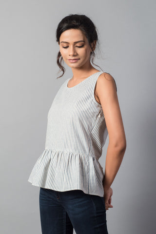 Striped Scoop Neck Sleeveless Top