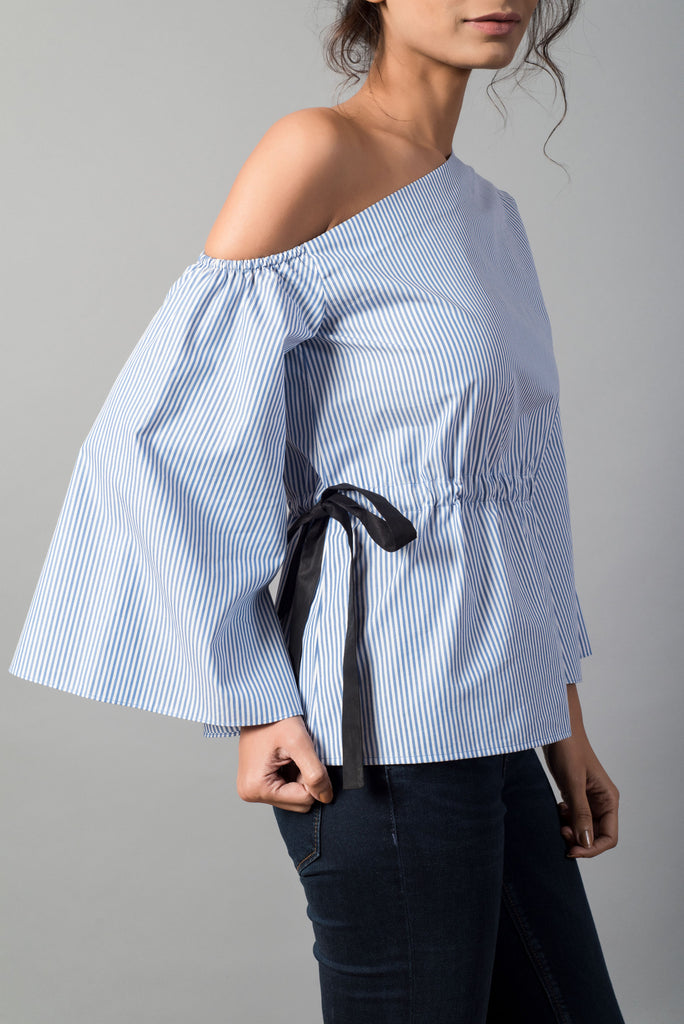Striped Waist Knot One Shoulder Top