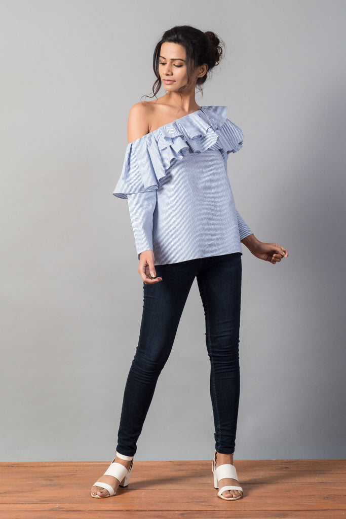 Layered Ruffle One Shoulder Stripe Top